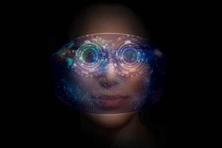 woman from future with the futuristic hologram glasses on her eyes