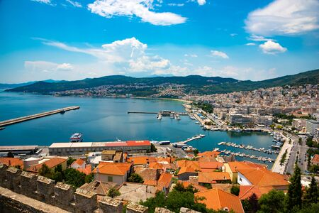 """Kavala Greece picturesque city view from above. Also known as Small """"Monte Carlo"""" of the East of northern Greece."""