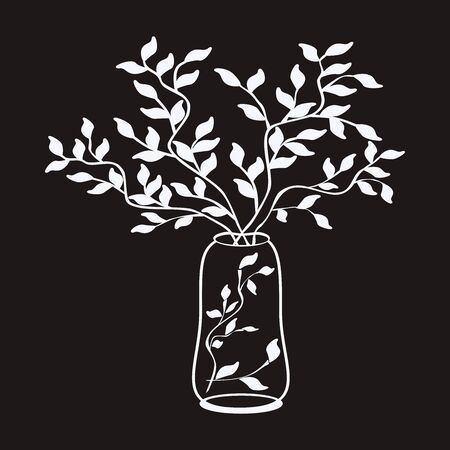 Vector outline simple illustration white tree branches in a vase on black backgronnd. Sketch for books. Print on paper, fabric, ceramics. Pattern for interior, fashion, furniture design, outline sketch for pillow, tile. Simple style