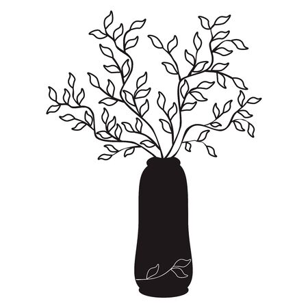 Vector outline simple illustration black tree branches in a vase on white backgronnd. Sketch for coloring books. Print on paper, fabric, ceramics. Pattern for interior, fashion, furniture design, outline sketch for pillow, tile. Simple style Иллюстрация