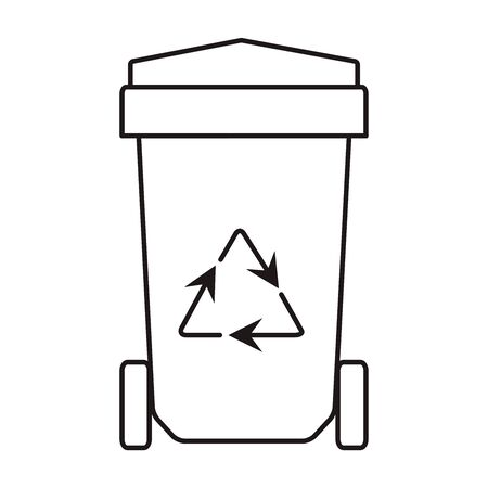 Trash.Vector outline illustration. Waste recycling line black icon.  Иллюстрация