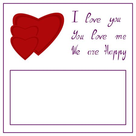 Vector illustration hearts and text on white background. Illustration for postcard, invitation card. Copy space