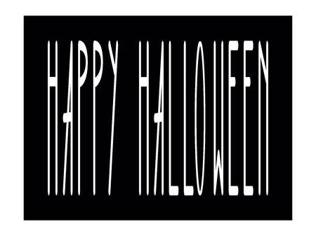 Happy Halloween original stamp. Vector illustration. White letters on a black background. Halloween label