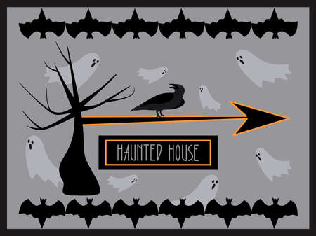 Horizontal Haunted House banner. Halloween design. Vector illustration for advertisement. Copy space Vectores