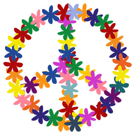 Floweral peace symbol. Vector illustration. Isolated on a white background