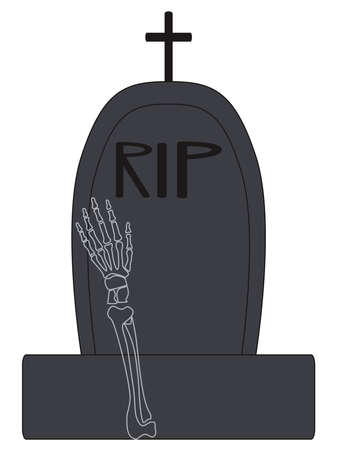 Vector illustration for Halloween design. Skeleton grave. Isolated on a white background