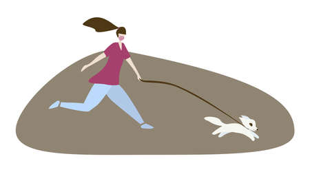 Woman running with dog outside wearing medical mask in the park.