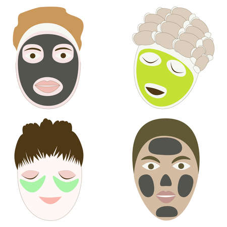Face care icons. Cartoon vector illustration. Isolated on a white background.  イラスト・ベクター素材
