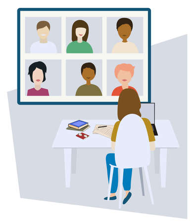 Online meeting or learning. Work from home. Video conference. Vector illustration. 向量圖像