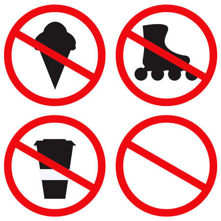 Prohibition restriction signs. Isolated on a white background. Vector illustration Vektorové ilustrace