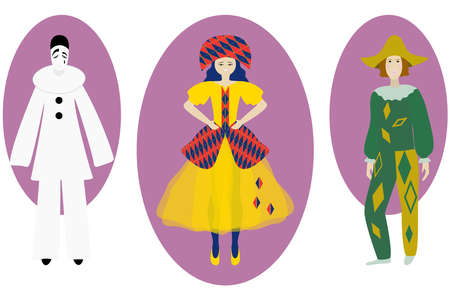 Columbine, Harlequin, Pierrot. Characters of the Italian commedia dell'arte. Vector illustration. Stock character of pantomime