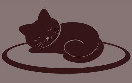 Cute kitten sleeping on the mat. Fat chocolate Cat. Isolated vector illustration.