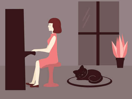 Woman play piano in the evening. Cat listens music.