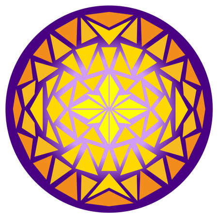 Glowing ball. Mosaic circle. Kaleidoscope pattern. Isolated vector illustration on a white background. Векторная Иллюстрация