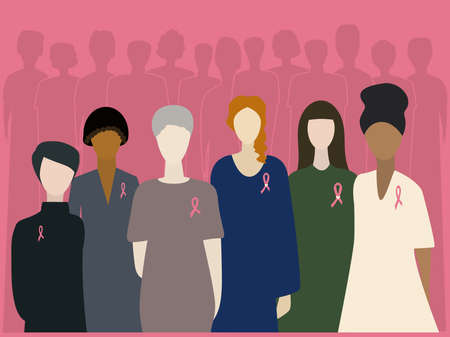 World Cancer Day. People fighting cancer and silhouettes of people who died of cancer. Vector illustration