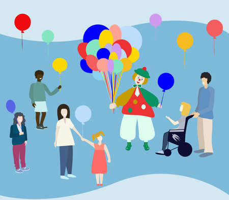 Random acts of kindness day. Clown giving balloons to children. Vector illustration.