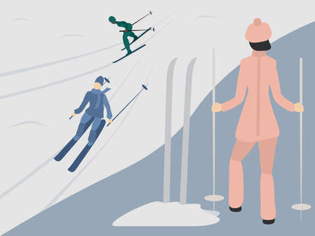 Woman standing on a hill and looking at skiers. Vector illustration for design