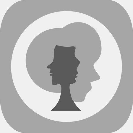 Optical illusion. Three human faces in silhouette. Colorless vector illustration. Ilustración de vector