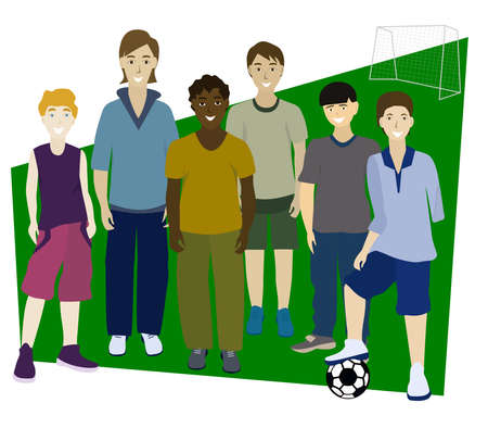 Portrait of friends. Multi-ethnic football team. Different people. Disabled boy without left arm. Friends get together to play soccer. Isolated vector illustration