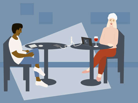 People charge mobile phone and tablet via USB. Public charging Boy and girl sitting in cafe. Vector illustration