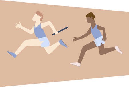 Athletes passing over the baton while running on the track. Men practicing relay race on racetrack. Side view. Isolated vector illustration Vektorgrafik