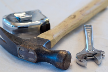 Hammer, Wrench, and Measuring Tape