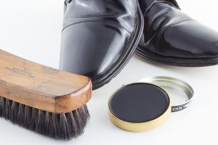 Schoenpoetsen Tijd Stockfoto