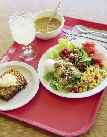cafeteria tray: Cafeteria food