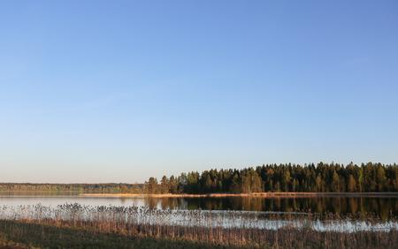 unedited: Sunset on the Valdai lake Stock Photo