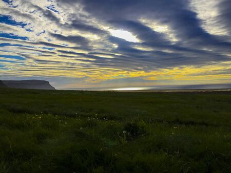 Sunset at a hotel near Látrabjarg a coast of the Westfjords in Iceland