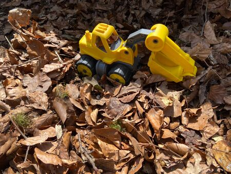 A toy excavator in a pile of leaves on a sunny spring morning