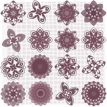 dalia: Colecci�n de 16 dibujos de flores Vectores
