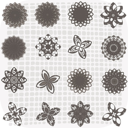 Collection of 16 flower sketches