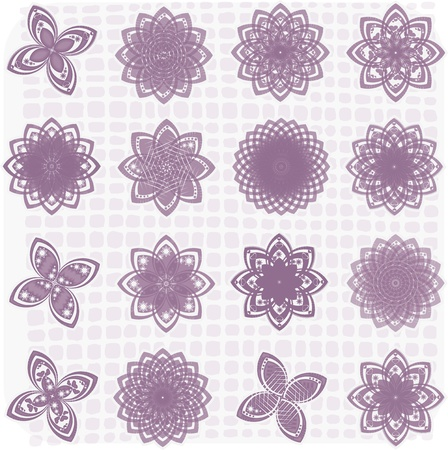 Collection of 16 flower sketches Vector