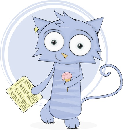 Cute cat with newspaper and ice-cream Vector