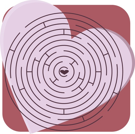Maze with heart Stock Vector - 12326851