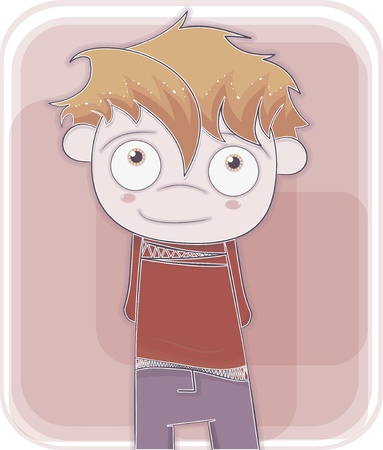 red haired person: happy little boy Illustration