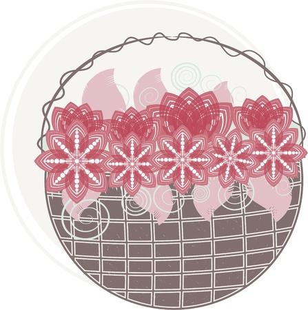 Red flower basket Vector