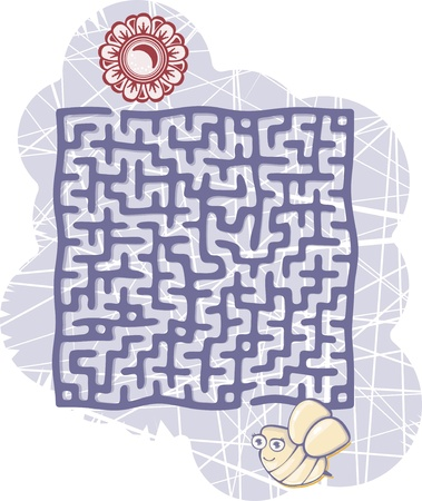 maze and bee Vector