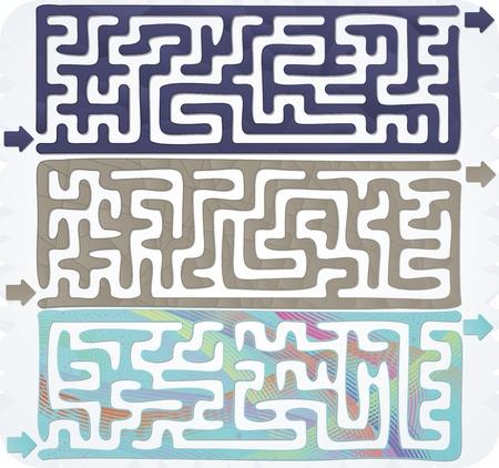 Set of Maze Illustration