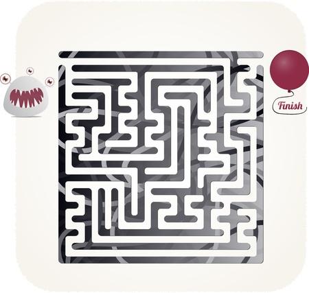 This is illustration of monster maze Illustration