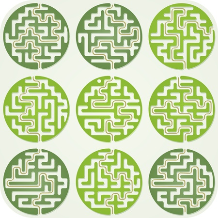 Set of Maze For Kids With Answer Illustration
