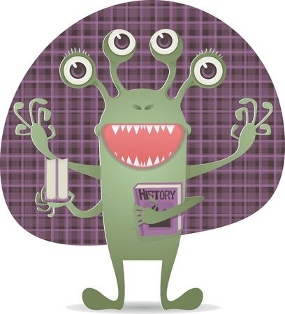 Happy monster with book Stock Vector - 19876612
