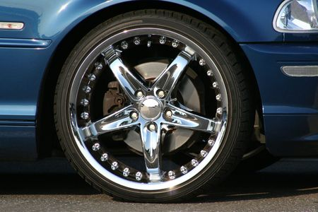 traction: custom chrome wheel and tire Stock Photo