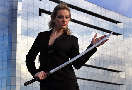 Samurai business woman photo