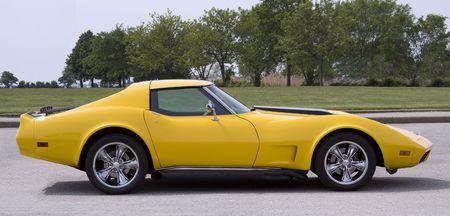 Vintage Yellow Sports Car photo