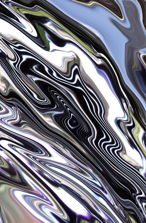 chrome: molten chrome metal swirling across page with reflections Stock Photo