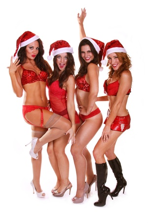 red lingerie: Holy Christmas Stock Photo