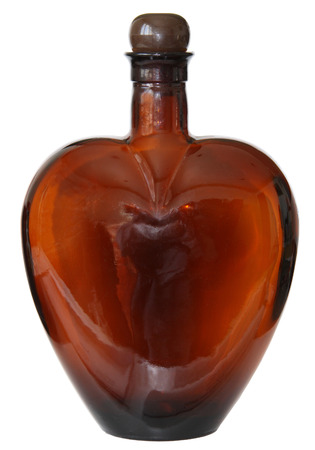 brown bottle: Heart shaped brown glass bottle
