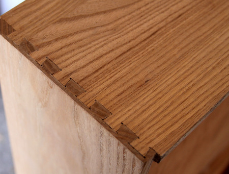 dovetail joint on wooden dresser drawer